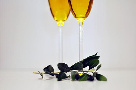 Olive oil in champagne glasses, olive branch. Nikon D90, AF-S Nikkor 50mm 1:1.8 G